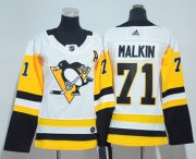Wholesale Cheap Adidas Penguins #71 Evgeni Malkin White Road Authentic Women's Stitched NHL Jersey