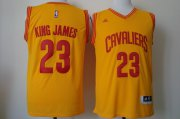 Wholesale Cheap Cleveland Cavaliers #23 King James 2015 Yellow Fashion Jersey