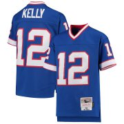 Wholesale Cheap Youth Buffalo Bills #12 Jim Kelly Mitchell & Ness Royal 1990 Legacy Retired Player Jersey