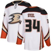 Wholesale Cheap Adidas Ducks #34 Sam Steel White Road Authentic Stitched NHL Jersey