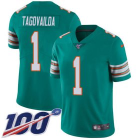 Wholesale Cheap Nike Dolphins #1 Tua Tagovailoa Aqua Green Alternate Youth Stitched NFL 100th Season Vapor Untouchable Limited Jersey