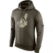 Wholesale Cheap Men's Cleveland Indians Nike Olive Salute To Service KO Performance Hoodie