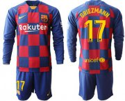 Wholesale Cheap Barcelona #17 Griezmann Home Long Sleeves Soccer Club Jersey