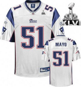 Wholesale Cheap Patriots #51 Jerod Mayo White Super Bowl XLVI Embroidered NFL Jersey