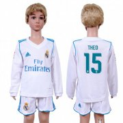 Wholesale Cheap Real Madrid #15 Theo Home Long Sleeves Kid Soccer Club Jersey