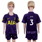 Wholesale Cheap Tottenham Hotspur #3 Rose Sec Away Kid Soccer Club Jersey