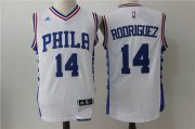 Wholesale Cheap Men's Philadelphia 76ers #14 Sergio Rodriguez NEW White Stitched NBA adidas Revolution 30 Swingman Jersey