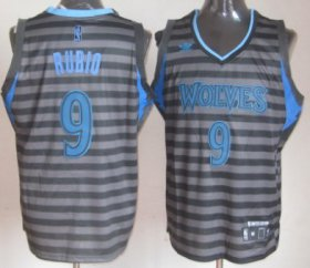 Wholesale Cheap Minnesota Timberwolves #9 Ricky Rubio Gray With Black Pinstripe Jersey