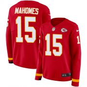 Wholesale Cheap Nike Chiefs #15 Patrick Mahomes Red Team Color Women's Stitched NFL Limited Therma Long Sleeve Jersey