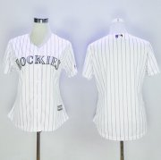 Wholesale Cheap Rockies Blank White Strip Women's Home Stitched MLB Jersey