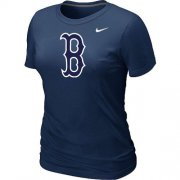 Wholesale Cheap Women's MLB Boston Red Sox Heathered Nike Blended T-Shirt Dark Blue