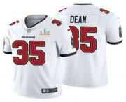 Wholesale Cheap Men's Tampa Bay Buccaneers #35 Jamel Dean White 2021 Super Bowl LV Limited Stitched NFL Jersey