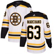 Wholesale Cheap Adidas Bruins #63 Brad Marchand White Road Authentic Youth Stitched NHL Jersey