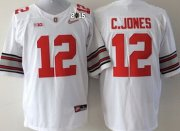 Wholesale Cheap Ohio State Buckeyes #12 Cardale Jones 2015 Playoff Rose Bowl Special Event Diamond Quest White 2015 BCS Patch Jersey