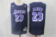 Wholesale Cheap Los Angeles Lakers #23 LeBron James Navy BlueThrowback Stitched NBA Jersey