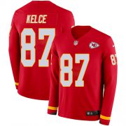 Wholesale Cheap Nike Chiefs #87 Travis Kelce Red Team Color Men's Stitched NFL Limited Therma Long Sleeve Jersey