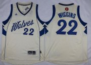 Wholesale Cheap Men's Minnesota Timberwolves #22 Andrew Wiggins Revolution 30 Swingman 2015 Christmas Day Cream Jersey