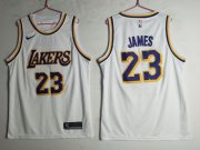 Wholesale Cheap Men's Los Angeles Lakers 23 Lebron James White Nike Swingman Jersey