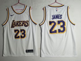Wholesale Cheap Men\'s Los Angeles Lakers 23 Lebron James White Nike Swingman Jersey