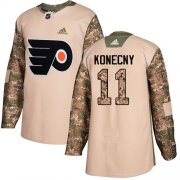 Wholesale Cheap Adidas Flyers #11 Travis Konecny Camo Authentic 2017 Veterans Day Stitched NHL Jersey