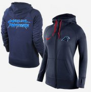 Wholesale Cheap Women's Nike Carolina Panthers Full-Zip Performance Hoodie Dark Blue