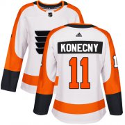Wholesale Cheap Adidas Flyers #11 Travis Konecny White Road Authentic Women's Stitched NHL Jersey