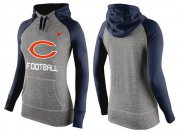 Wholesale Cheap Women's Nike Chicago Bears Performance Hoodie Grey & Dark Blue