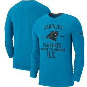 Wholesale Cheap Men's Carolina Panthers Nike Blue 2019 Salute to Service Sideline Performance Long Sleeve Shirt