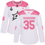Cheap Adidas Stars #35 Anton Khudobin White/Pink Authentic Fashion Women's 2020 Stanley Cup Final Stitched NHL Jersey