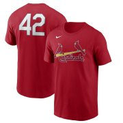 Wholesale Cheap St. Louis Cardinals Nike Jackie Robinson Day Team 42 T-Shirt Red