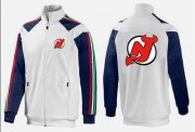 Wholesale Cheap NHL New Jersey Devils Zip Jackets White-3