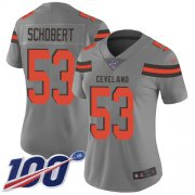 Wholesale Cheap Nike Browns #53 Joe Schobert Gray Women's Stitched NFL Limited Inverted Legend 100th Season Jersey