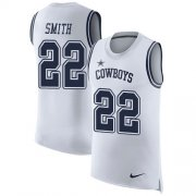 Wholesale Cheap Nike Cowboys #22 Emmitt Smith White Men's Stitched NFL Limited Rush Tank Top Jersey