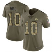 Wholesale Cheap Nike Chiefs #10 Tyreek Hill Olive/Camo Women's Stitched NFL Limited 2017 Salute to Service Jersey