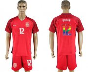 Wholesale Cheap USA #12 Guzan Red Rainbow Soccer Country Jersey