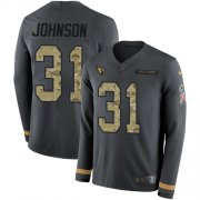Wholesale Cheap Nike Cardinals #31 David Johnson Anthracite Salute to Service Men's Stitched NFL Limited Therma Long Sleeve Jersey