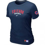 Wholesale Cheap Women's Chicago Cubs Nike Short Sleeve Practice MLB T-Shirt Midnight Blue