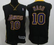 Wholesale Cheap Los Angeles Lakers #10 Steve Nash Black With Purple Swingman Jersey