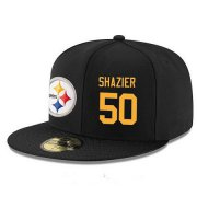 Wholesale Cheap Pittsburgh Steelers #50 Ryan Shazier Snapback Cap NFL Player Black with Gold Number Stitched Hat