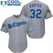Wholesale Cheap Dodgers #32 Sandy Koufax Grey Cool Base 2018 World Series Stitched Youth MLB Jersey