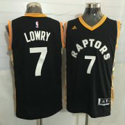 Wholesale Cheap Men's Toronto Raptors #7 Kyle Lowry Black With Gold New NBA Rev 30 Swingman Jersey