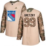 Wholesale Cheap Adidas Rangers #99 Wayne Gretzky Camo Authentic 2017 Veterans Day Stitched Youth NHL Jersey