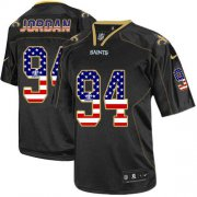 Wholesale Nike Saints #94 Cameron Jordan Black Men's Stitched NFL Elite USA Flag Fashion Jersey