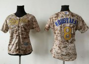 Wholesale Cheap Royals #8 Mike Moustakas Camo Women's Fashion Stitched MLB Jersey