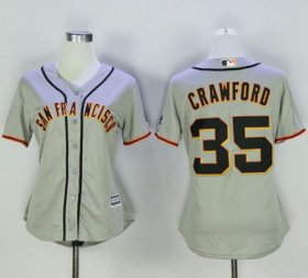 Wholesale Cheap Giants #35 Brandon Crawford Grey Women\'s Road Stitched MLB Jersey