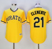 Wholesale Cheap Pirates #21 Roberto Clemente Gold New Cool Base Stitched MLB Jersey