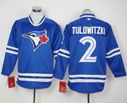 Wholesale Cheap Blue Jays #2 Troy Tulowitzki Blue Long Sleeve Stitched MLB Jersey