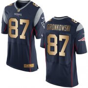 Wholesale Cheap Nike Patriots #87 Rob Gronkowski Navy Blue Team Color Men's Stitched NFL New Elite Gold Jersey