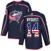 Wholesale Cheap Adidas Blue Jackets #14 Gustav Nyquist Navy Blue Home Authentic USA Flag Stitched NHL Jersey