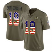Wholesale Cheap Nike Steelers #19 JuJu Smith-Schuster Olive/USA Flag Men's Stitched NFL Limited 2017 Salute To Service Jersey